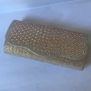 Bags - Rose Gold Clutch with removable chain strap